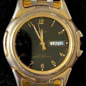 "Swanson watch 2tone men's watch black face guc 9"""